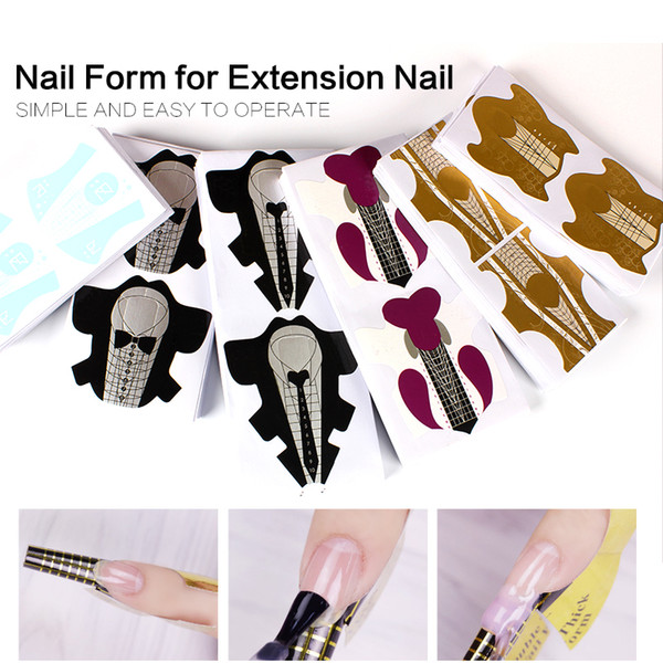 stiletto form YZX 1 Bag/ 100Pcs Salon Stiletto Forms Acrylic Curve Round Nails UV Gel Extension Nail Art Guide Form