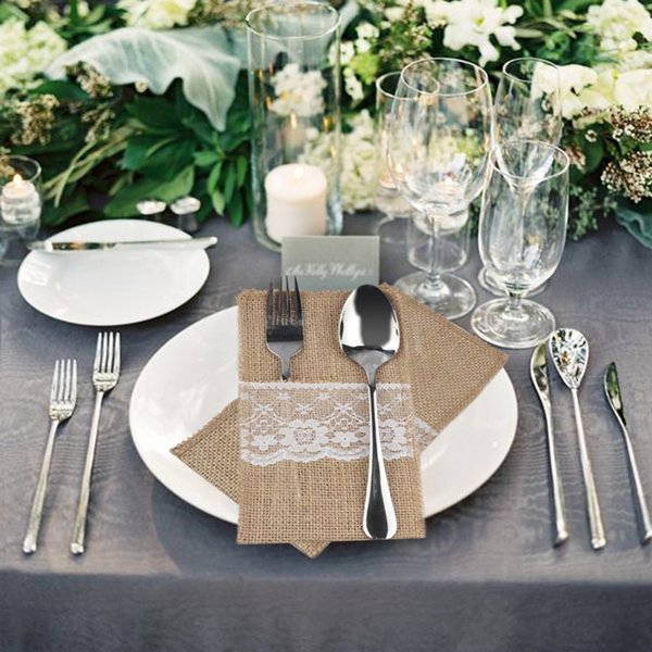 """DIY Lace Rustic Wedding Burlap Jute Tableware Fork Knife Holder Pocket Pouch Wedding Party Table Decoration 4""""x8"""""""