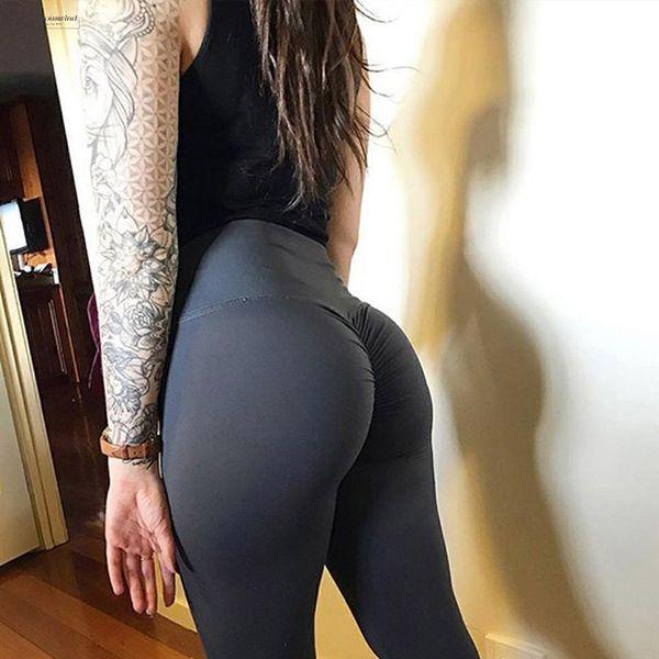 Nouvelle taille haute Jambières Femme Vêtements Femme Fitness Slim Pantalon froncé Bodybuilding Femmes Athleisure haut Leggings Sexy