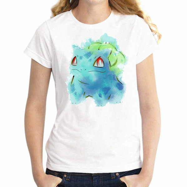 Women's T Shirt Grass Type Starter Watercolor Pop Culture Awesome Artwork Girl's Printed Tee