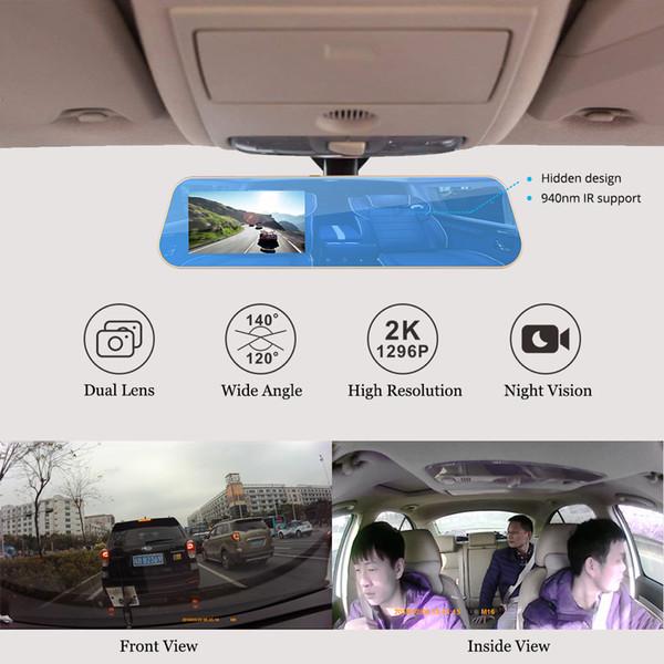 Lente dupla Câmeras de Visão Noturna Espelho Retrovisor Do Carro DVR Frente 2K 1296 P + 720 P Interior Da Câmera de Segurança da Câmara Traço Cam Cartão SD