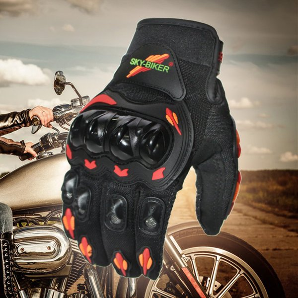 top popular New Arrival SKYBIKER Fashion Full Finger Motorcycle Gloves Outdoor Sports Riding Red-Orange Moto Protective Gears Glove for Men 2019