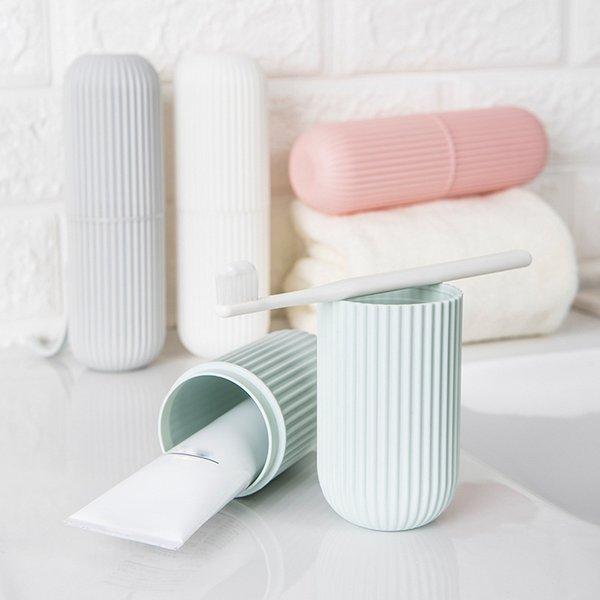 best selling Creative Portable Toothpaste Toothbrush Holder Case Non-Slip Strip 2019 Storage Box Plastic Couple Bathroom Accories