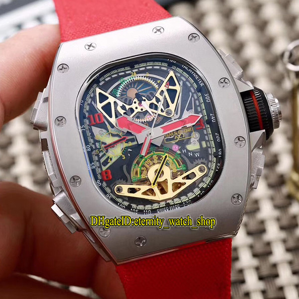 High Quality RM 50-02 ACJ Skeleton Tourbillon Dial Japan Miyota Automatic 50-02 Mens Watch Silver Case Red nylon Leather Strap Sport Watches