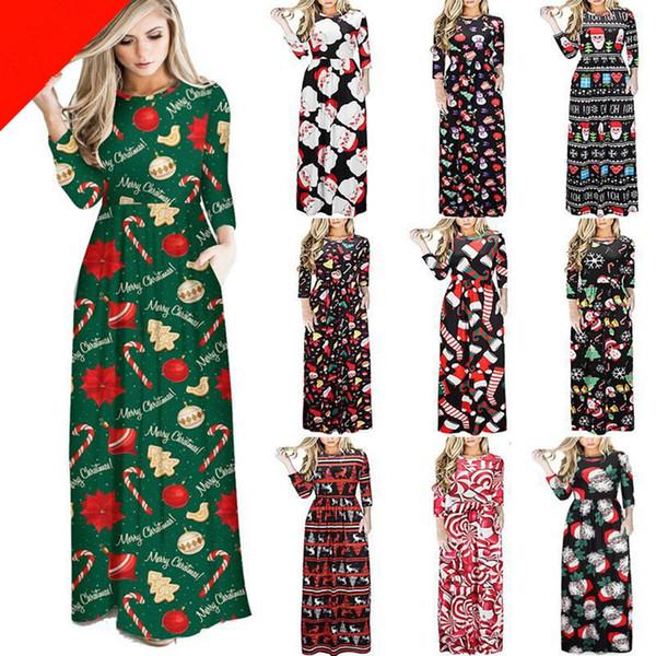 Christmas Women Clothes O- neck Christmas Tree Santa Claus Flower Print Dress Lady Casual Long Sleeve Long Chirstmas Dress Gifts RRA2313