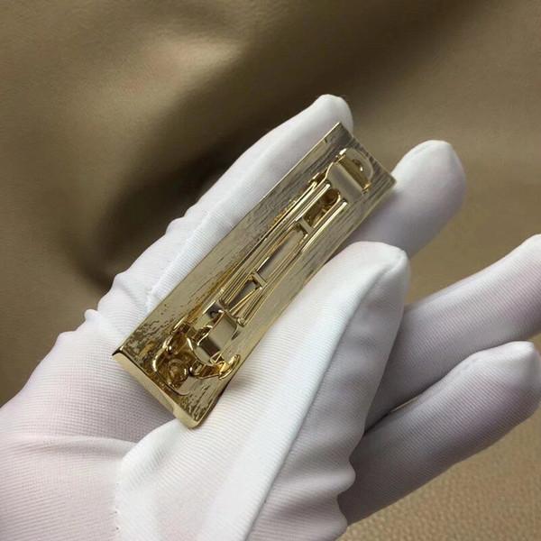 Модный золотой зажим для волос письмо прямоугольник шпилька леди пресс зажим с маркой роскошные ювелирные изделия