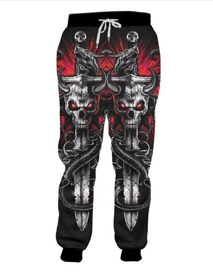 Release New Fashion Long Animal 3D Trousers Print Cool Key Chain Skull Sweatpants Oversized Garment Man Women Autumn Pants RCL020