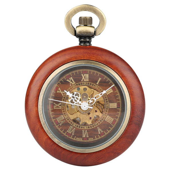 Retro Men's Pocket Watch, Mechanical Movement Pocket Watch for Man, Wooden Case Pendant Necklace Watches Gift for Boys