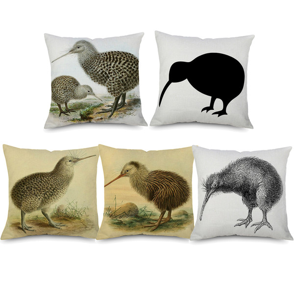 Sensational Kiwi Bird Cushion Covers Animal Painting Beige Linen Pillow Covers 7 Styles 45X45Cm Chair Sofa Decoration Outdoor Wicker Chair Cushions Replacement Gmtry Best Dining Table And Chair Ideas Images Gmtryco