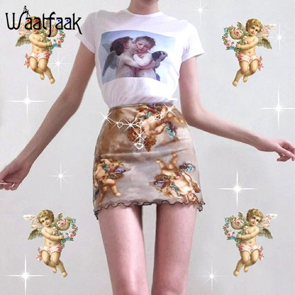Waatfaak Summer Sexy Short Pencil Skirts Womens A Line Skirt Ladies Angel Print High Waist Vintage Elastic Jupe Femme Korean