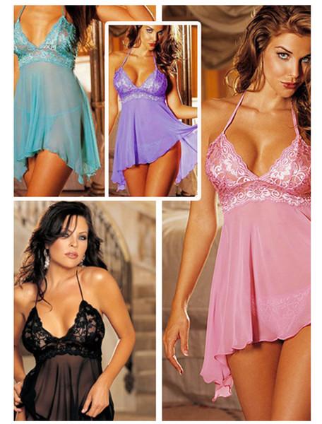 Белье Хижина Сексуальные Кружева Babydoll Пижамы Sheer Сорочка Скольжения Пижамы #R45