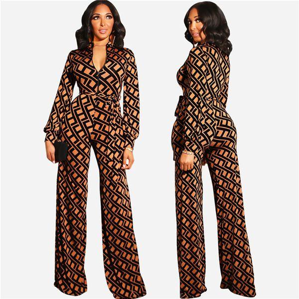 Womens Clothing Jumpsuits Fashion Designer High Quality Print Long Sleeve V Neck Belt Wide Leg Pants