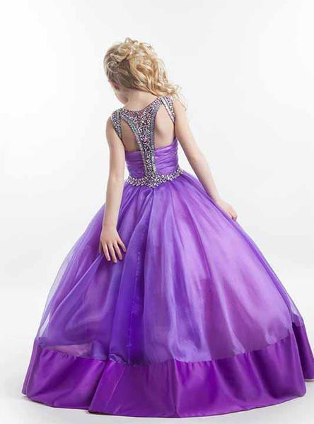 Formal Girls Cute Pageant Dresses 2019 Jewel Sleeveless Princess Bling Crystal Beading Flower Girls Dress Birthday Party Gowns Custom
