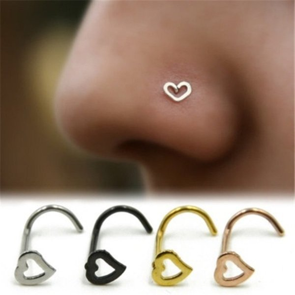 Love Heart Stainless Steel Nose Rings Body Piercing Jewelry Bent Angle Nose Rings Studs Punk Jewelry for Men Women DHL Wholesale