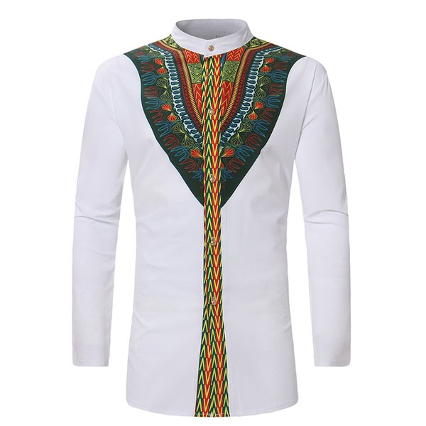 Spring New Men's African National Style Top Shirt Men Single-row Button Slim Shirt For Men Long Sleeve Casual Clothing
