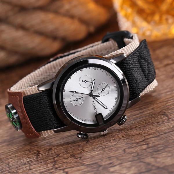 Relógio do Esporte dos homens de Nylon Banda de Aço Inoxidável Quartzo Analógico Relógio de Pulso Masculino Luxo Bússola Relógios Relogio masculino