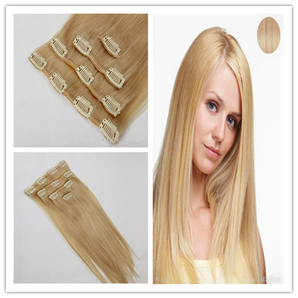Clip in Human Hair Extensions 8pcs/set virgin thick clip in hair extension 100g Straight Weave Remy Hair