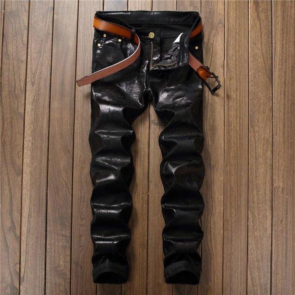 2018 Printemps Été Hommes Slim Jeans Marque De Mode Pantalon Décontracté Hommes Droite Denim PU Pantalon De Haute Qualité Mâle Maigre Noir Jeans