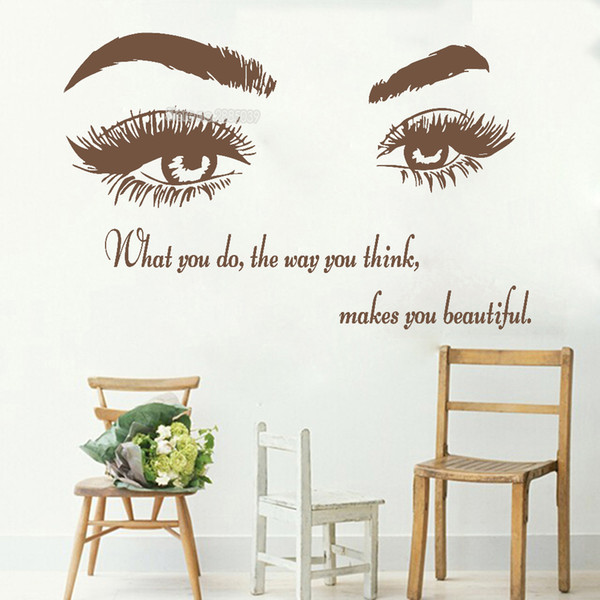 Hot Sale Eyebrows Beauty Salon Quote Make Up Wall Sticker For Livingroom Home Decor Mural Art Eyelashes Lashes Vinyl Decal