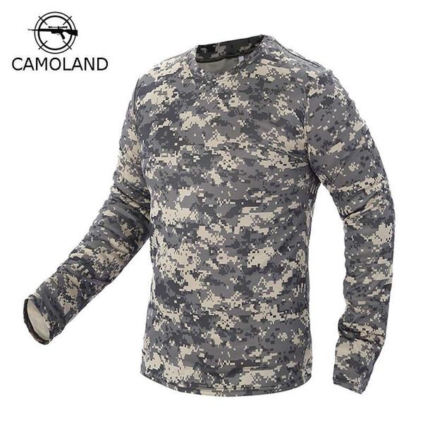 2017 Nova Tático Camuflagem Militar T Camisa Masculina Respirável Secagem Rápida Nos Exército Combate T-shirt de Manga Comprida Outwear Para Homens C19041303