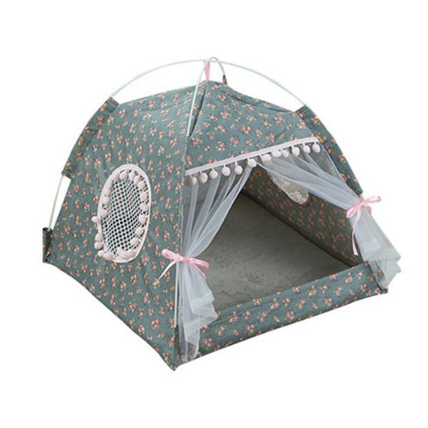 Portátil Pet Dog Tent Casa respirável Print House Cat Pet com a Net Interior Tenda dobrável malha do gato do cão pequeno ao ar livre