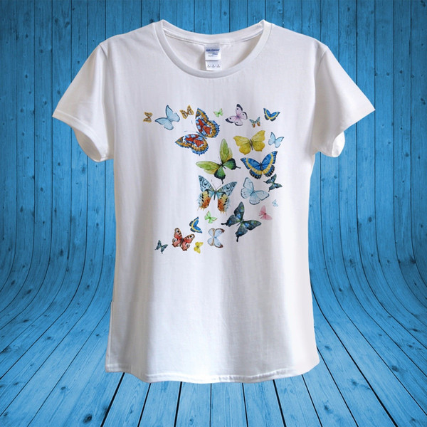 Butterfly Butterflies summer joy T-shirt 100% Cotton unisex womenFunny free shipping Unisex Casual Tshirt