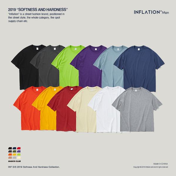 Camiseta para Mujer Hombre Color puro Camiseta Oversize Off Shoulder Hombre Camiseta de manga corta 200g Peso 12color Opcional 2019 Nuevo Llega