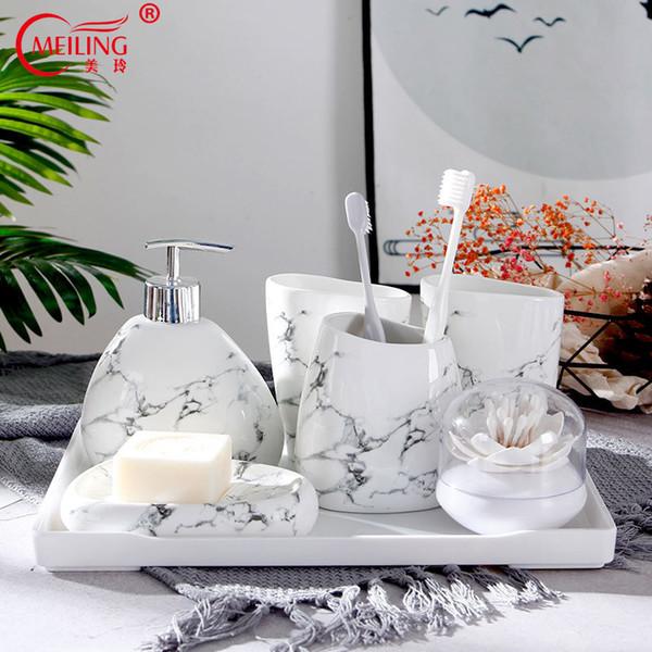 Marble Bathroom Decoration Set Toilet Accessories Ceramic Toothbrush Holder Toothpaste Dispenser Houses Vanity Storage Organizer Y19061804
