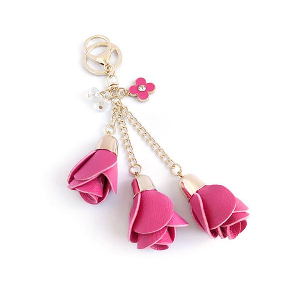 DHLFree 100 unids 18 colores encanto de cuero flor color de rosa llaveros borla flor llaveros mujeres llavero bolso monedero colgante de joyería