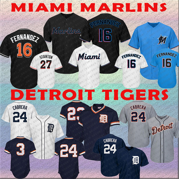 Miami Jose 16 Fernandez Jersey Marlins 27 Stanton Detroit Kirk 23 Gibson Jersey Tigers Alan 3 Trammell Miguel 24 Cabrera Mens Baseball Jerse