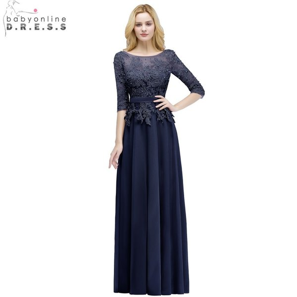 e65be4d8a0828 2019 Babyonline Dust Pink 3/4 Sleeves Long Evening Dresses 2019 Lace  Appliques Beaded Formal Dresses With Sash Vestido De Festa Longo Y19051401  From ...