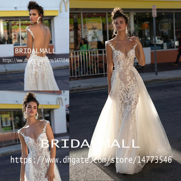Romantic Illusion Bodice Lace Mermaid Wedding Dresses 2020 Berta Sexy Open Back Cap Sleeve Appliqued Bridal Gowns With Removable Train Short Bridal