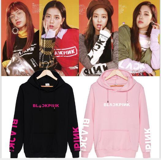 Combinazione coreana gruppo donne BLACKPINK con lo stesso paragrafo maglione con cappuccio marea uomini e donne di marca vestito esplosione maglione con cappuccio