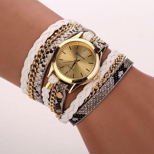 OTOKY Women Leopard Band Bracelet Quartz Braided Winding Wrap Bracelet Quartz Wristwatches YY04