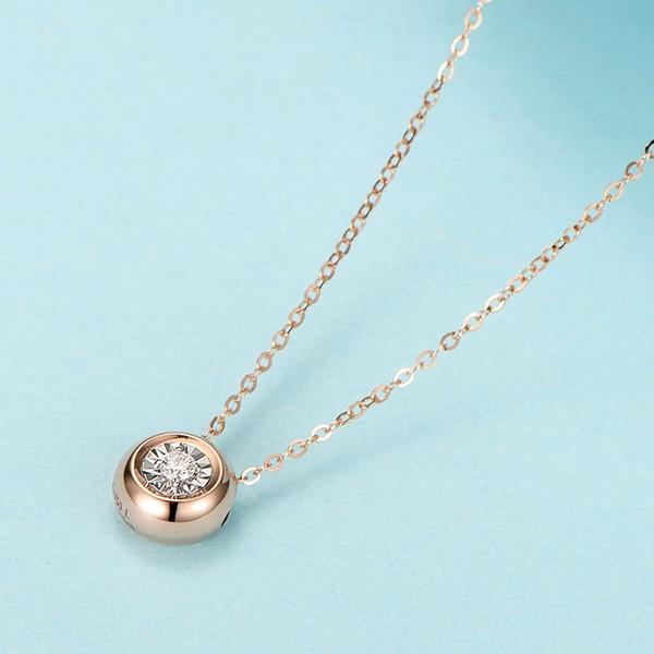 0.3CT Effect Real Алмазная 18k Твердые золотые украшения ожерелье изящных ювелирных подарков на день рождения подруги