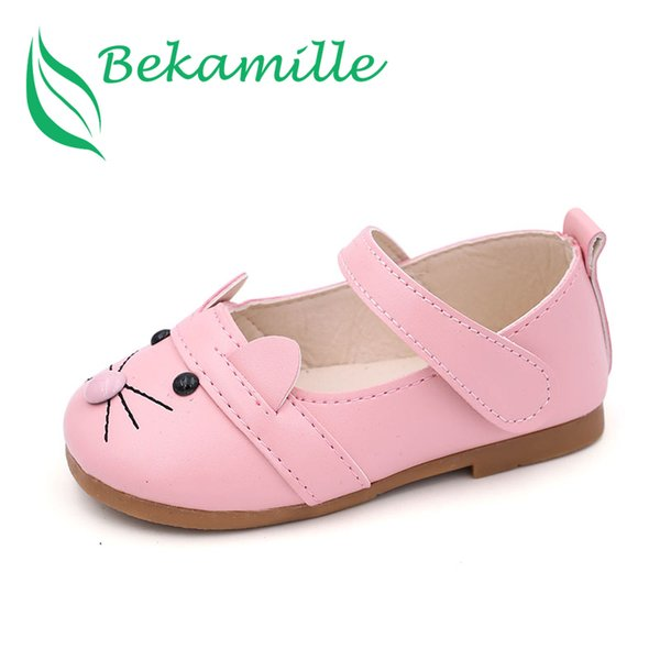 Bekamille Girls Leather Shoes 2017 Spring Autumn Children Sneakers Cartoon Cat Kids baby Leisure Single Shoes For Female Kids