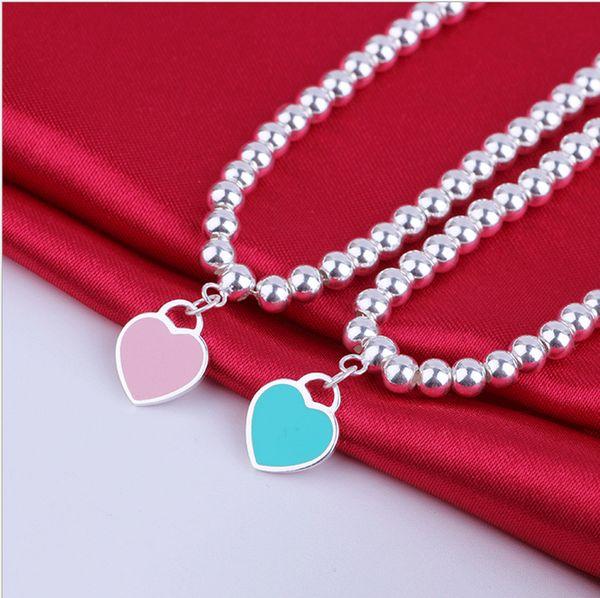 Sterling Silver Blue Enamel Heart-shaped Round Buddha Beaded Bracelet Women's Ornament free shipping