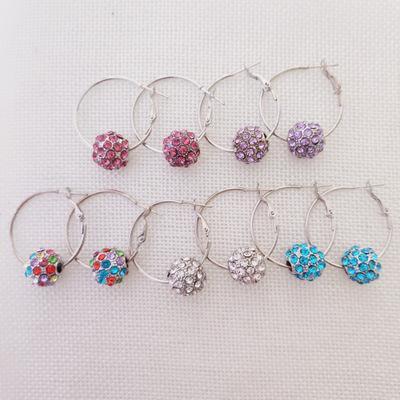 Pendientes de aro de diamantes de imitación para mujeres DHL Cherry Bblossom Pendientes de bola de cristal para Lady Fashion Jewelry Christmas Gift