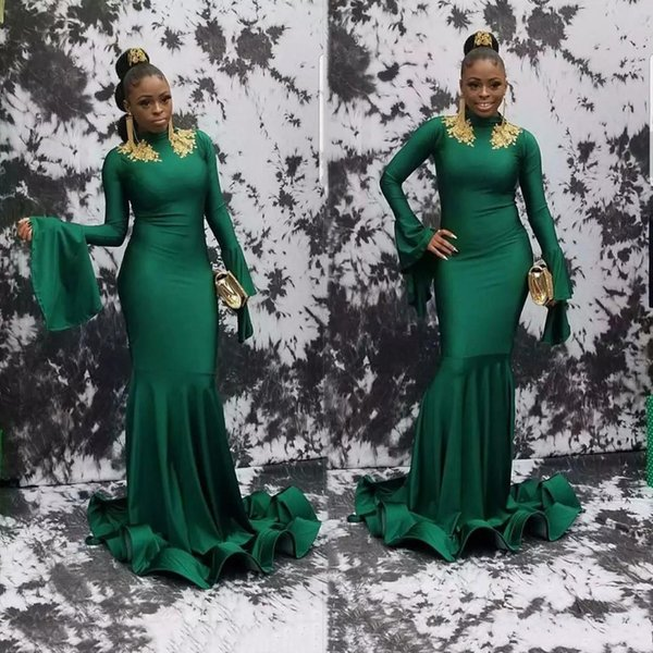 2019 Modern Green Mermaid Prom Dresses Poet Long Sleeve Jersey With Gold Lace Applique High Neck Sweep Train Formal Party Wear Evening Gowns