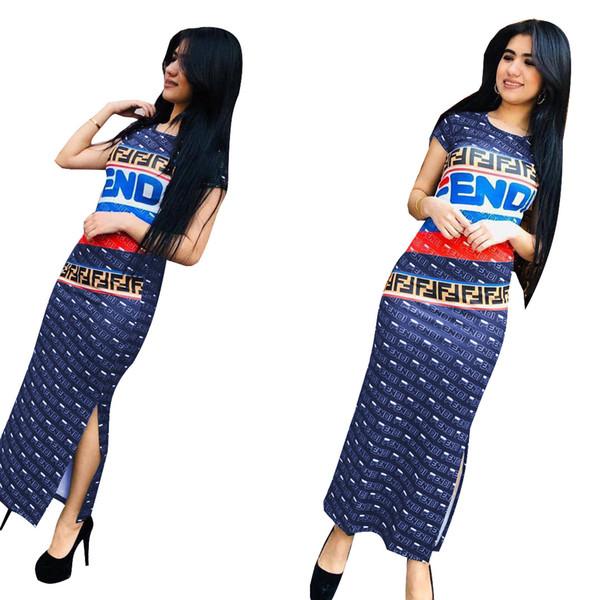 Женщин дизайнер платье свободного покроя печатных длинные платья роскошные Леттере ФФ строку выкройка одежды для лета 2019 Новый