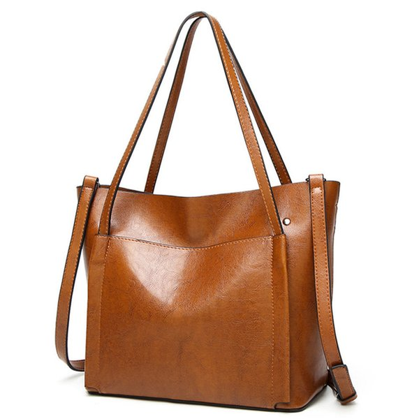 good quality 2019 Large Capacity Women Shoulder Bag High Quality Leather Handbags For Women Brand Ladies Tote Bag Pu Pouch