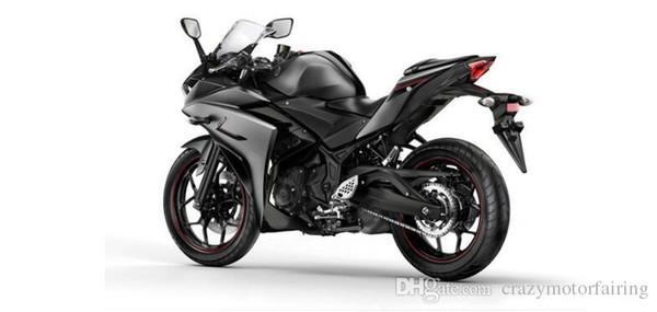 3 regalos Planes para personalizar Para Yamaha YZF R25 R3 YZFR3 2015 inyección ABS Plástico Motocicleta Carenado Kit Carrocería YZFR25 15 Negro YI1