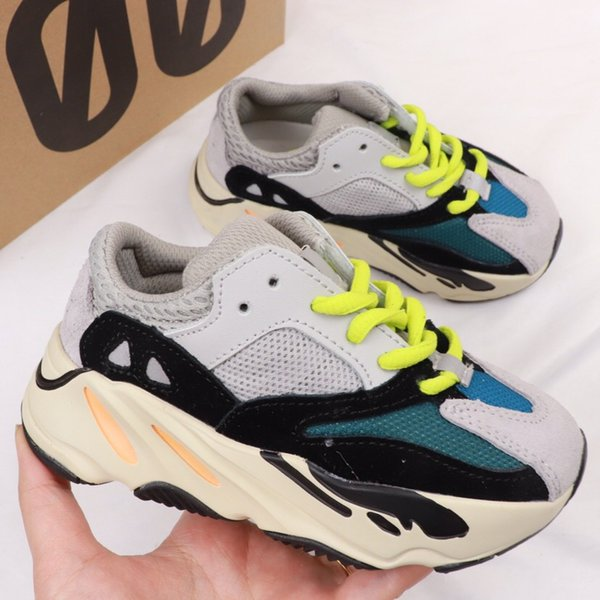 New Cheap Kids Shoes Wave Runner 700 Kanye West Running Shoes Boys Girls Trainer Sneaker 700 Sport Shoe Children Athletic Shoes With Box