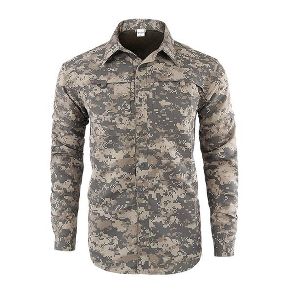 ESDY Men Hiking Shirts Solider Tactical Camo Shirts Quick Drying Outdoor Hiking Trekking Clothes Men Sunscreen Fishing