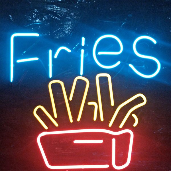 FRIES Neon Sign Fast Food Restaurant Holiday Display Advertising Decoration Wall mounted Real Glass Light Metal Frame 17'' 20'' 24'' 30''