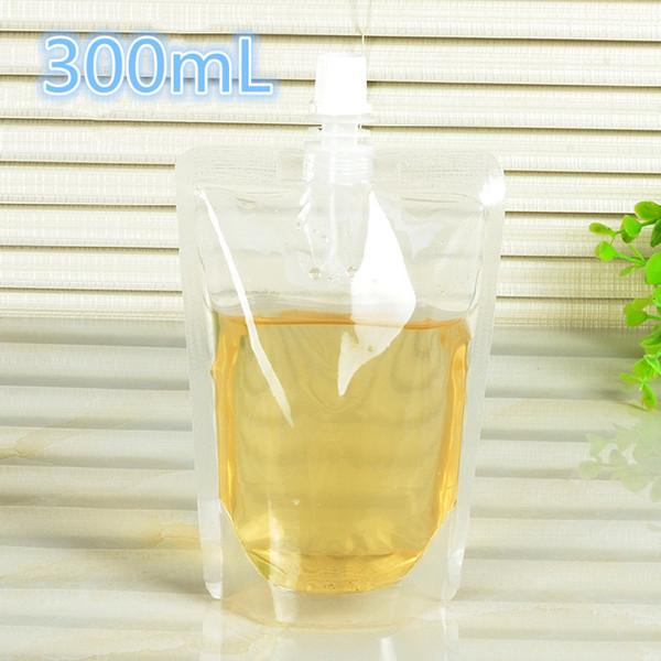 12 * 20 cm 300 ml 100 Unids / lote Jalea Leche Líquida Transparente Plástico Vacío Paquete de Bolsa Bolsa Bebida Jugo Vino PE Polvo Caño Bolsa de almacenamiento
