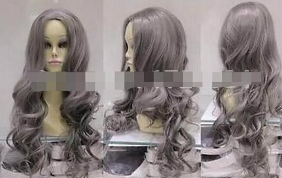 FRETE GRÁTIS + + + cinza misturado peruca cosplay longo encaracolado