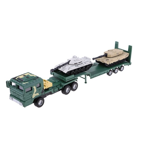 1/64 Simulación Remolque Coche con tanque Vehículo Modelo Juguetes Educativos Regalo de cumpleaños para niños, niños pequeños