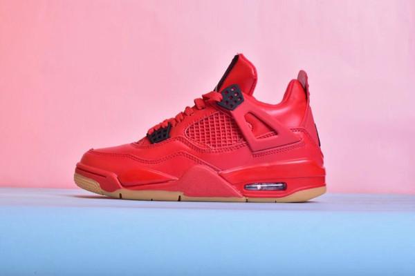 Sapatos de Basquete Das Mulheres Dos Homens Reais Real 4 4s Singles Day Red Scratch Music Couple Lazer Sapatos Com Caixa Original Para Venda