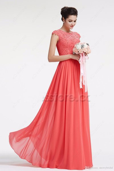 2019 Coral Modest Chiffon Lace Vestidos de dama de honra Cap Sleeves Long A-Line Floor Length Country Wedding Guests Dresses Vestidos de festa Custom
